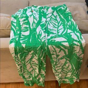 Lily Pulitzer target Palazzo pants leaf print LG